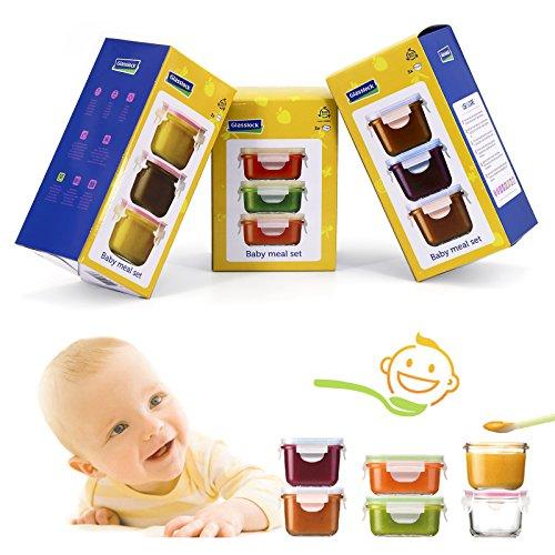 GlassFood - Set von 9 Container Glasslock Baby in 3 Formaten Hochwertige Hartglas, 100% Wasserdicht, für Transport und Aufbewahrung Mus- und Pures, 150/160/210 ml