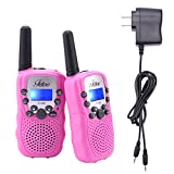 Fetoo Walkie Talkie für Kinder PMR446 mit Akku, Ladekabel 0,5W 8 Kanäle VOX Taschenlampe Funkgeräte (2er-Set, Pink)
