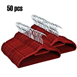 Befied Kleiderbügel Garderobenbügel Anti-Rutsch Samt beschichtet 50er-Pack 45.5cm (gelb)