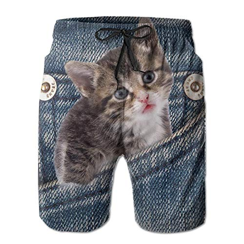 The Cat in The Pocket Mens Swim Trunks Quick Dry Board
