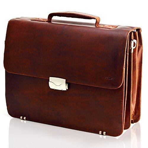 Echt Leder Aktentasche mit Schloss Messenger bag Business Tasche Schultertaschen Umhängetasche DIN-A4 Laptoptasche für Herren Büchertasche Notebook Tasche Braun