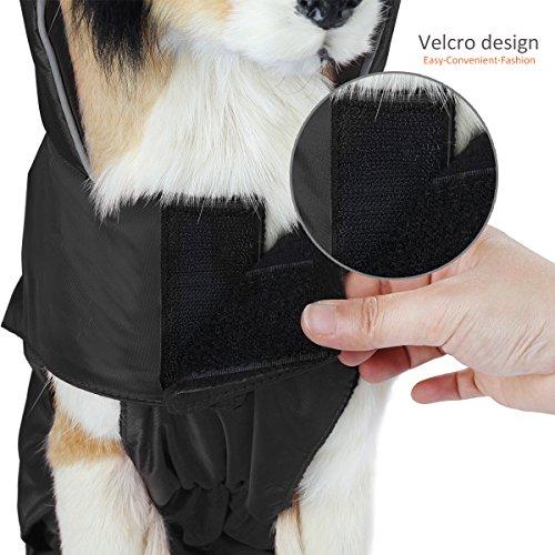 SelfLove Hundemantel aus 100% Wasserdicht Nylon Fleece Futter Jacke Reflektierende Hundejacke Warm Hundemantel Climate Changer Fleece Jacke einfaches An- und Ausziehen(L Schwarz) - 6