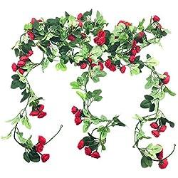 Sprießen 2 Pièce Guirlande de Roses Artificielles avec Feuilles Vertes à Suspendre Fleur Guirlande en Soie Lierre Vigne pour Maison Cour Décoration de Jardin de Mariage (Rouge)