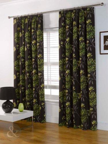 Just Contempo - Tende in cotone mezzo panama pesante, con fettuccia arricciatenda e interamente foderate, Misto cotone, verde (marrone cioccolato giallo lime), tende 167 x 229 cm (per camera da letto)