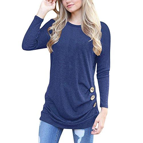 GOKOMO Damen Rundhals Langarm T-Shirt mit unregelmäßigen Knöpfen(Navy Blue-a1,X-Large)