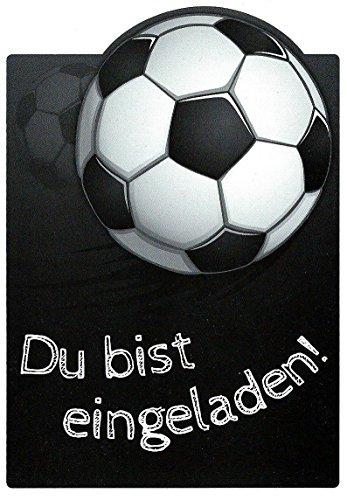 zum Kindergeburtstag Set mit Umschlägen und Innentext Kinder Fussball Motiv Fußball / schwarz (Cars Geburtstag-einladungen)
