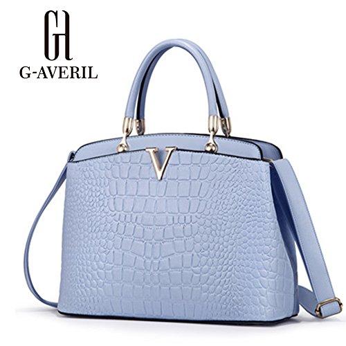(G-AVERIL) Borse Donna, Borse in Pu Pelle Semplice Borsa Tote Grande Capacità blu