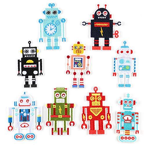 Mingjun Aufnäher/Aufbügeln bestickte Patches Stickerei Roboter für Kleidung Jacken Rucksäcke T-Shirt Jeans Applikation DIY Kleidung