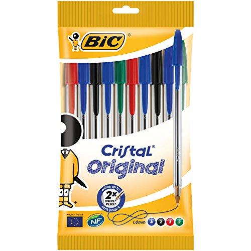 BIC Kugelschreiber Cristal Original – 10 klassische BIC Kugelschreiber mit blauer, schwarzer, roter und grüner Farbmine – Kugelschreiber dokumentenecht & lange Schreibdauer