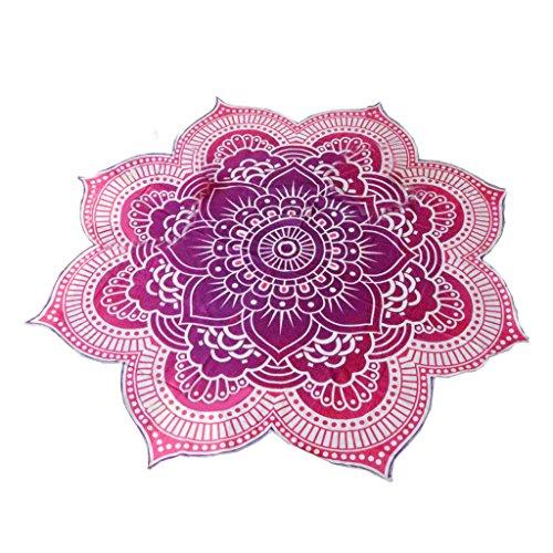 Tapiz Tiro Estera de Yoga Colcha Dormitorio Hippie Mandala Estilo de Bohemio Redonda - Púrpura