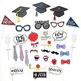 Tomkity 30 Pezzi Graduation Photo Booth Puntelli del Partito Occhiali Moustache Red Lips Decorazioni Della Festa