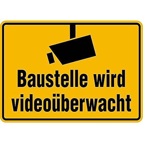 LEMAXu00ae Schild Baustelle wird videoüberwacht mit Kamerasymbol gem. DIN 33450 Alu 35 x 25 cm (Videoüberwachung, Überwachungskamera) praxisbewährt, wetterfest