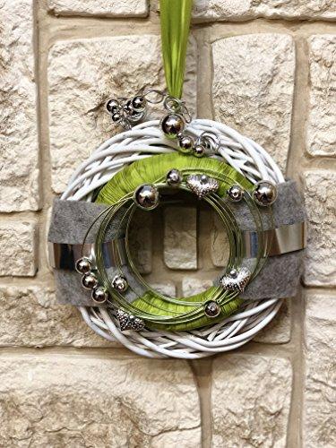Türkranz Rebenkranz weiss Wandkranz Nr.25 Türkranz 30 cm mit Filz grün grau silber modern Türdeko Türschmuck Kranz Türkranz