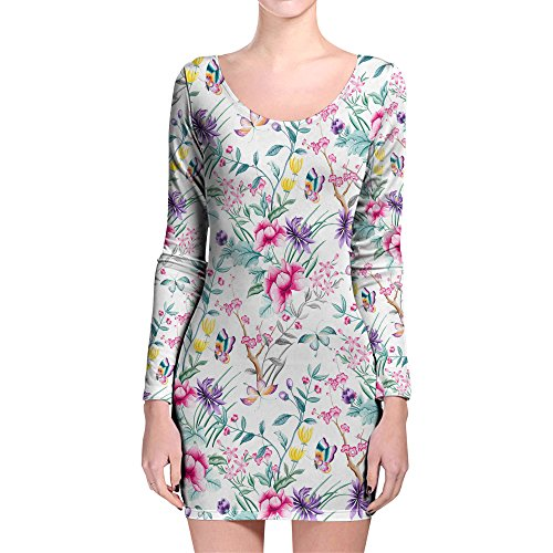 Floral Chinoiserie Longsleeve Bodycon Dress Kleid XS-3XL White