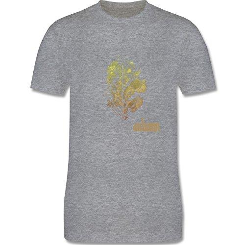 Blumen & Pflanzen - Herbstblatt - autumn leaf - Herren Premium T-Shirt Grau Meliert