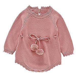Mitlfuny Unisex Suéter Mameluco Ropa de Punto Invierno Otoño Recien Nacido Bola de Pelo Correa Princesa Camisa Tejer… 6