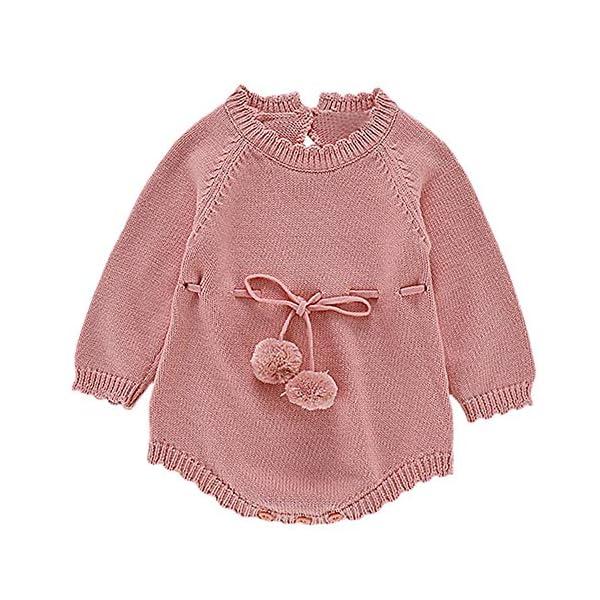 Mitlfuny Unisex Suéter Mameluco Ropa de Punto Invierno Otoño Recien Nacido Bola de Pelo Correa Princesa Camisa Tejer… 1
