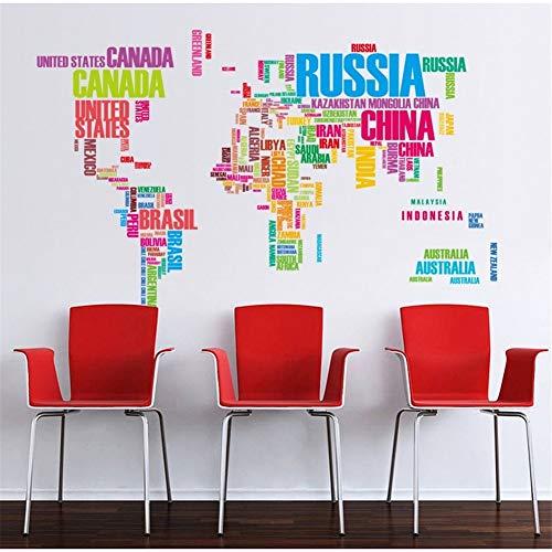 Zfkdsd Weiße Schwarze Buchstaben Welt Karte Wand Aufkleber Salon Wohnkultur Selbstklebende Schablone Vinyl Aufkleber Büro Schule Klassenzimmer Dekor (Vinyl-schablone Buchstaben)