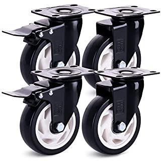 H&S 4 Castor Wheels Heavy Duty 100mm PU Rubber Swivel Trolley Furniture Caster with Brakes - 600KG