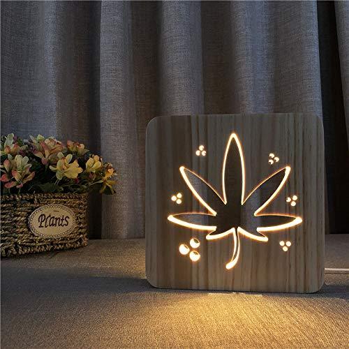 Hanfblatt Massivholz Nachtlicht Neuheit Hohl Carving Nachtlicht Led Holz Lampe Kinder Geschenk -