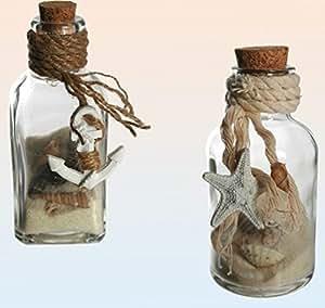 deko glasflaschen set mit sand und muscheln f r maritime deko k che haushalt. Black Bedroom Furniture Sets. Home Design Ideas