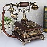 Retro Telefon FJH Haushalt verdrahtete Scheibe Drehen Zifferblatt Festnetz Holz + Harz + Metall