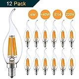 Pack de 12 Bombillas LED Vela E14 Filamento llama 4W equivalente a 40W   220V 2700K Blanco Cálido   No Regulable por THINKMORE