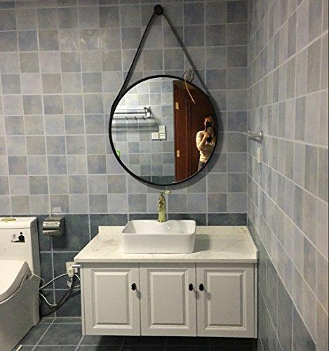 HQQ Toiletten-Badezimmer-Spiegel-runder Eisen-an der Wand befestigter kosmetischer Behandlungsspiegel für Schlafzimmer (Farbe : SCHWARZ, größe : 70cm)