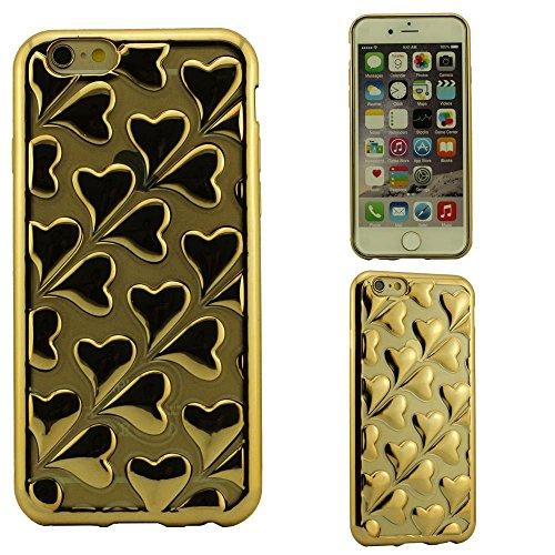 Sottile Trasparente Custodia per iPhone 6S & iPhone 6 4.7 Pollici,Morbida Cuore Forma Sollievo modellismo Copertura Protettiva Protective Case Anti shock Oro