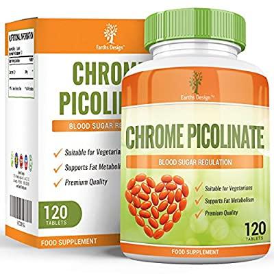 Chromium Picolinate, Potent Supplement that can Maintain Healthy Blood Sugar and Cholesterol Levels, Can Improve Glucose and Insulin Responses, Boosts Energy & Metabolism, 200 MCG - 120 Tablets by Earths Design