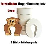 6 x Kindersicherung TÜRSTOPPER Finger-Klemmschutz für Türen | EXTRA DICK in weiß | Schutz und Sicherheit für Kinder Baby Hunde Katzen | Zugluftstopper zum aufstecken | 1 Äffchen GRATIS