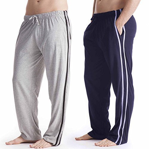 2 Pack Mens/Gentlemens Nightwear Plain Pyjama Bottom Lounge Pants, Large