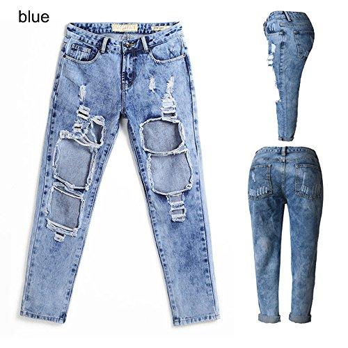 WENJHEN Damen Jeanshose Blau