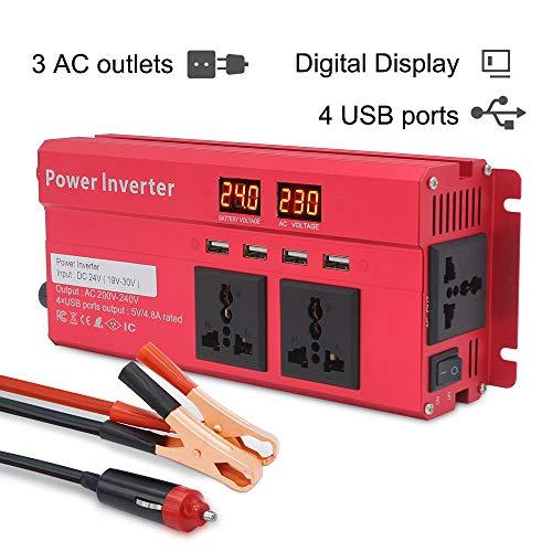 Wechselrichter 800W/2000W Cantonape Spannungswandler DC 24V auf AC 230V/KFZ Inverter mit 3 Steckdose und 4 USB LED Spannungsanzeige