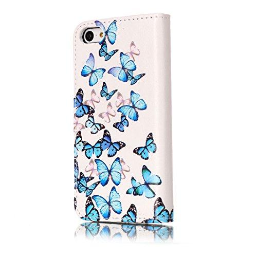 Tasche für Apple iPhone 5C Handy Flip Case Schutz Hülle mit Brieftasche mit Standfunktion Kartenfächer-Weiß Schmetterling