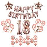 YeeStone 18th Geburtstag Dekorationen Party Dekorationen Set Geburtstagsdeko Luftballons Alles Gute zum Geburtstag Banner und Stern Folie Ballon und Konfetti Latex Ballons (Rose Gold)