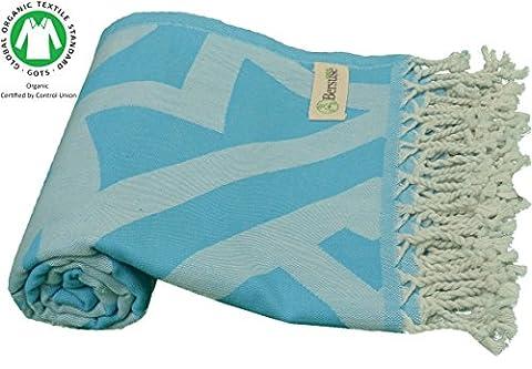 DESIGNER COLLECTION - Bersuse GOTS-Certified 100% Organic Cotton - Flamenco Turkish Towel Peshtemal - Beach Bath Fouta Pestemal - 37X70 Inches,