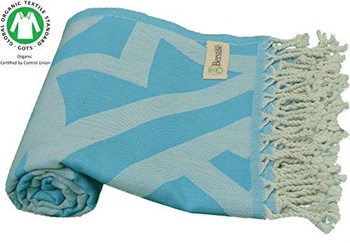 DESIGNER KOLLEKTION - Bersuse GOTS-Zertifiziert 100% Bio Baumwolle - Flamenco Türkisches Handtuch Peshtemal - Badestrand Fouta Pestemal - 95X175 cm, Aqua Blau (Baumwoll-terry-stoff-robe)