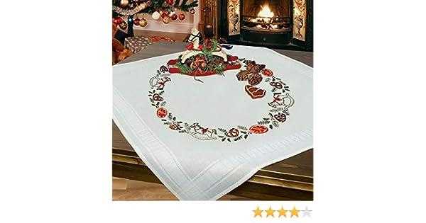 Winter Stickset mit Stickvorlage f/ür Erwachsene Stickpackung Pinguine komplettes vorgezeichnetes Kreuzstich Tischdecken Set Sticken zur Adventszeit und Weihnachten