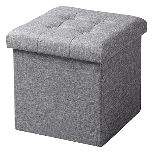 Woltu sh06hgr-1 sgabello pieghevole sedia a cubo pouf cassapanca poggiapiedi contenitore mdf lino grigio chiaro
