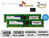Timetec Hynix IC 16GB Kit (2x8GB) DDR3 1600MHz PC3-12800 Non ECC Unbuffered 1.35V/1.5V CL11 2Rx8 Dual Rank 240 Pin UDIMM Desktop Memory Ram Module Upgrade (16GB Kit (2x8GB))