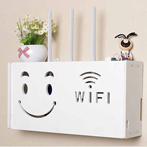 yazi Wifi Router Shelf TV Set-top Rack Wall Hanging Formaldehyde-free Storage Box Cat House Smiling (Hanging Rack)