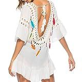 MCYs Damen Bikini Feder Vertuschen Reine Hand Chiffon Crochet Knit Hollow-Out Strandkleid Backless Strand V- Ausschnitt Badeanzug Bikini-Kittel Cover Up mit Quaste One Size (Weiß)