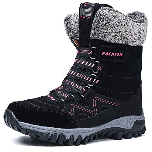 Womens Snow Boots Ladies Winter Fur Lined Warm Ankle Boots Lace up Anti-Slip Water Resistant Shoes for Outdoor Walking Hiking Trekking
