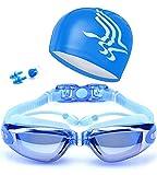 Occhiali da Nuoto, Occhialini Nuoto a specchio anti appannamento, lenti completamente regolabili,anti UV, GRATIS Cuffia da Nuoto & Clip per Naso & Tappi per Orecchie, per Donne, Uomini, Adulti, Adolescenti e Bambino (Blu)