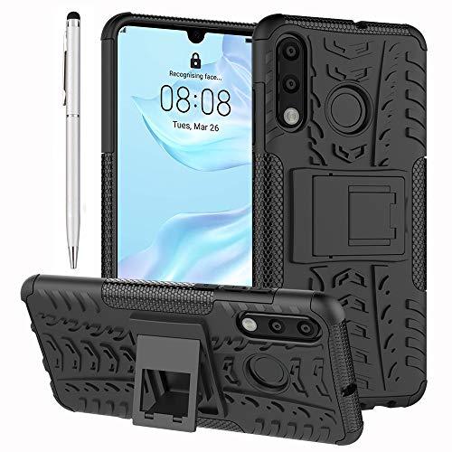 Conjunto de Acessórios Ash-case 2in1: Capa Híbrida Externa para Huawei P30 Lite - Capa Dura de Silicone TPU Capa Dura Móvel Negra (#2) + Caneta Stylus de Prata 1 x Tela de Toque