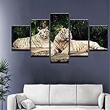 5 Pièce Peinture Calligraphie Animal Deux Tigres Toile Peinture Impressions Mur Art...