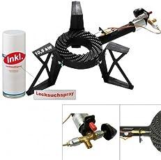CAGO 3-Bein Hockerkocher 10,5 kW Gasbrenner Gaskocher mit Zündsicherung und Piezozündung inkl. Lecksuchspray