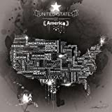 Mapa de Estados Unidos ébano por B., Mikael–Fine Art Print disponible sobre lienzo y papel, lona, SMALL (20 x 20 Inches )