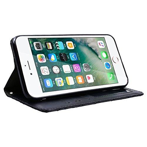 GrandEver iPhone 7 Plus Hülle Lederhülle Schutzhülle Retro Handytasche Scratch Ledercase Ledertasche Umschlag Stil Flip Cover Wallet Case mit Weiche Silikon Schale Innere Tasche für iPhone 7 Plus Hand Schwarz